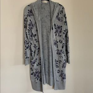 Long Grey Floral Cardigan with Hood